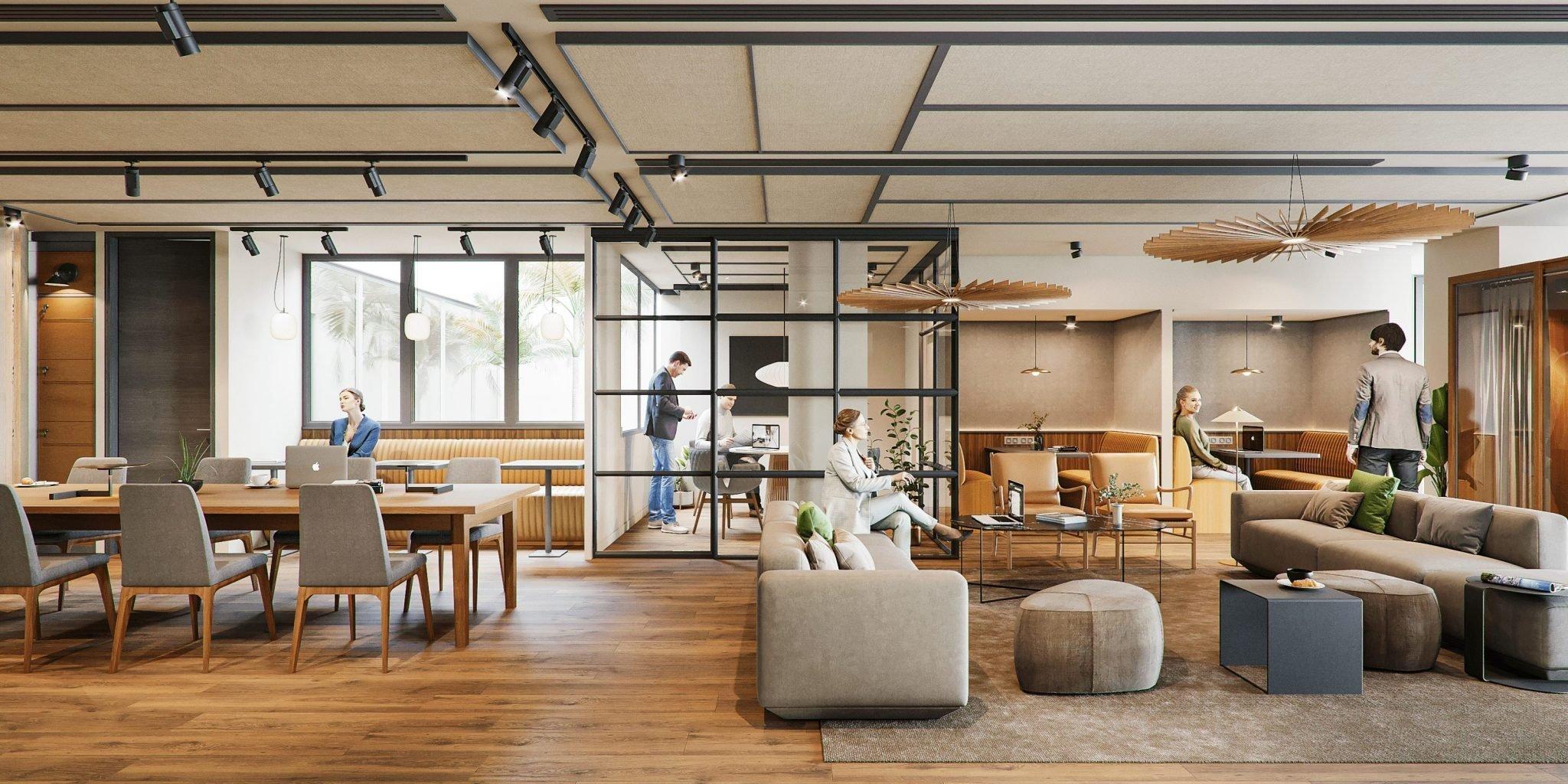 renders interiores coworking
